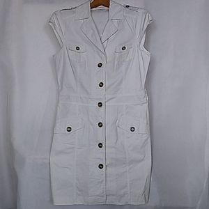 Women's Jessica White Dress Button Up Cup Sleeve